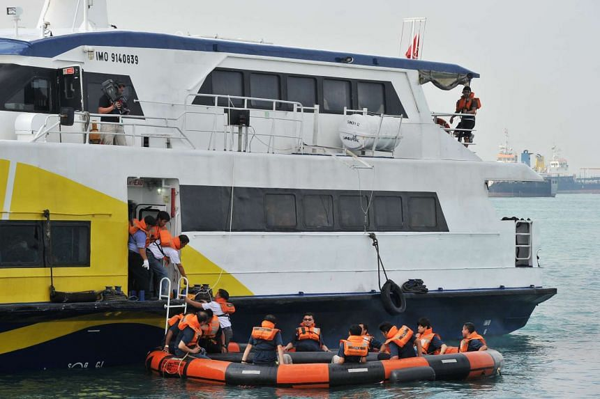 A multi-agency ferry evacuation exercise was conducted by the Maritime and Port Authority of Singapore near Tanah Merah Ferry Terminal on May 6, 2016.