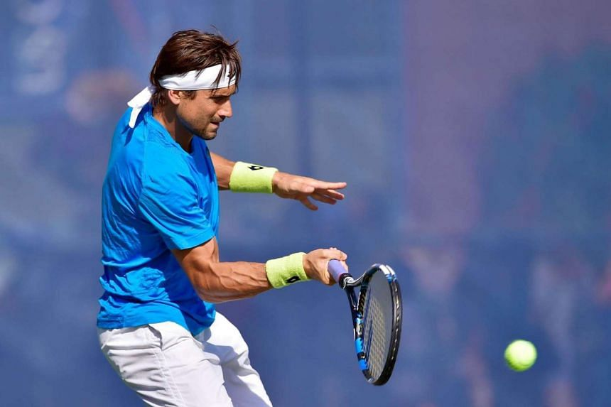 David Ferrer of Spain practices during Arthur Ashe Kids' Day prior to the start of the 2016 US Open at USTA Billie Jean King National Tennis Center on Aug 27 in New York City.