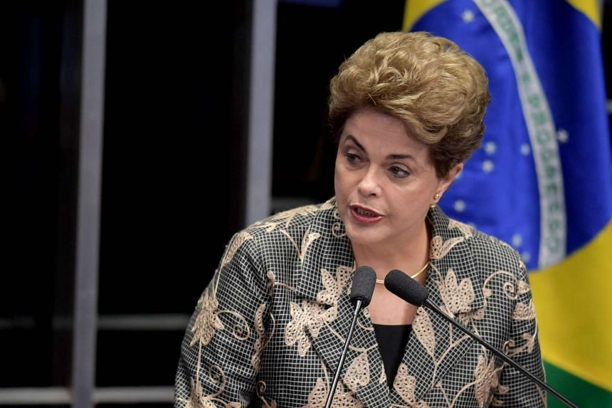 Suspended Brazilian President Dilma Rousseff delivers a speech during her testimony on the impeachment trial at National Congress in Brasilia on Aug 29, 2016. Ms Rousseff arrived at the Senate to defend herself confronting her accusers in a dramatic