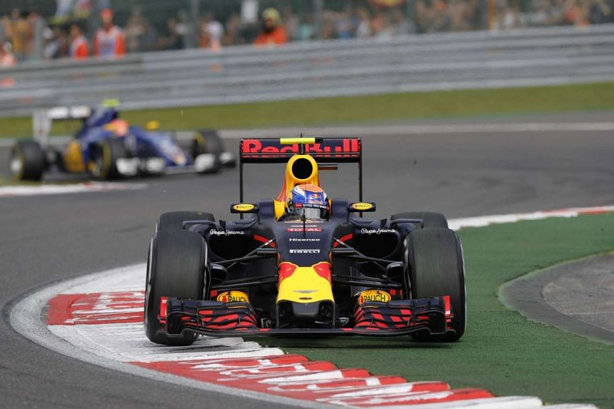 Dutch Formula One driver Max Verstappen (front) in action during the 2016 Belgium Formula One Grand Prix in Belgium on Aug 27, 2016.