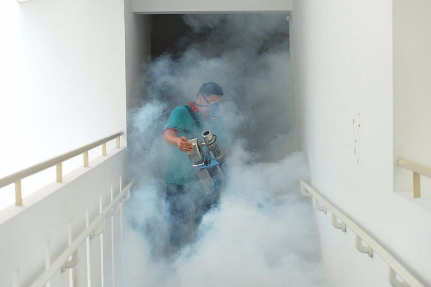 Fogging being done around 51 Sims Drive on Aug 29, 2016.