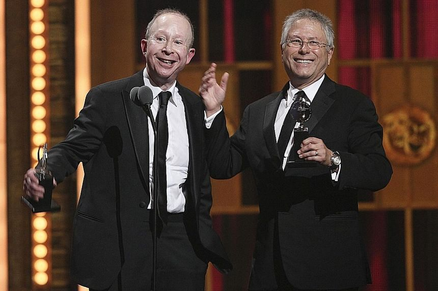 Songwriter Alan Menken (above right, with lyricist Jack Feldman) as they accept the Tony for Best Original Score for their work on Newsies, at the Tony Awards in 2012.