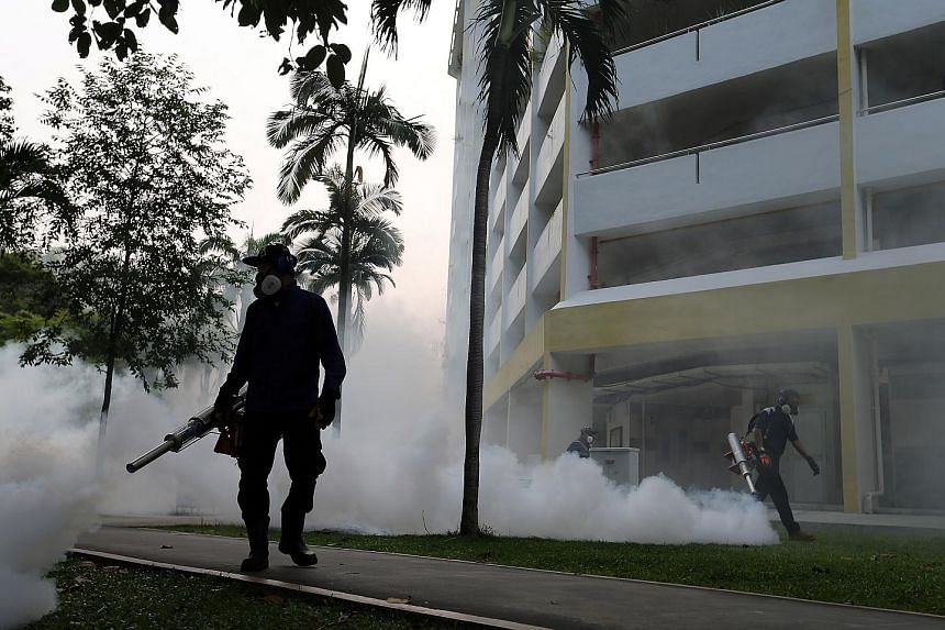 Fogging being done in Aljunied Crescent yesterday. Of the 41 people here infected with the Zika virus, 34 have fully recovered. The other seven, who still show symptoms and are potentially infectious, are recovering in hospital. All of them either li