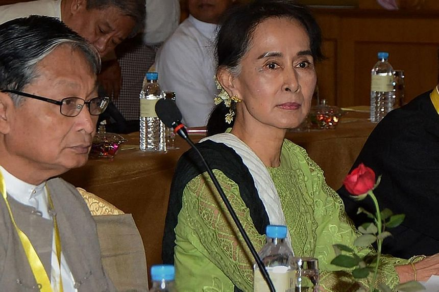 Ms Suu Kyi chairing a meeting in Naypyitaw in May in preparation for the talks, which will bring ethnic minority rebel leaders to the capital, along with military top brass and international delegates.