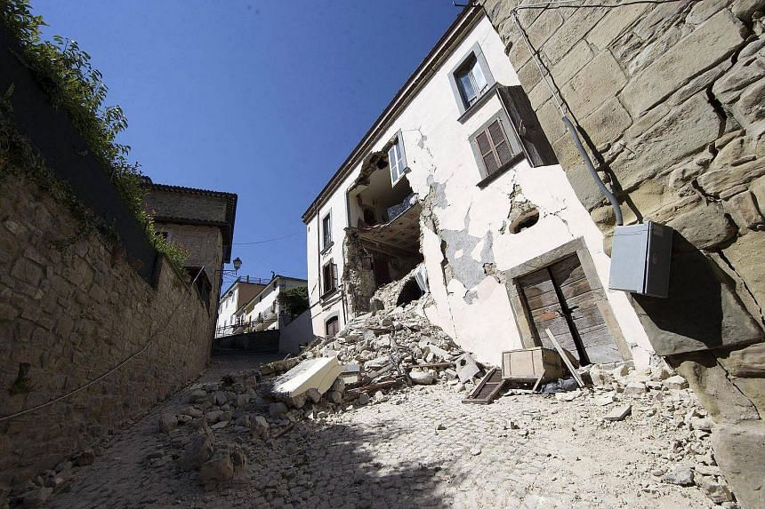A view of Accumoli, Italy, 25 Aug after the 6.2 earthquake struck Italy, on 24 Aug that killed at least 247 people.