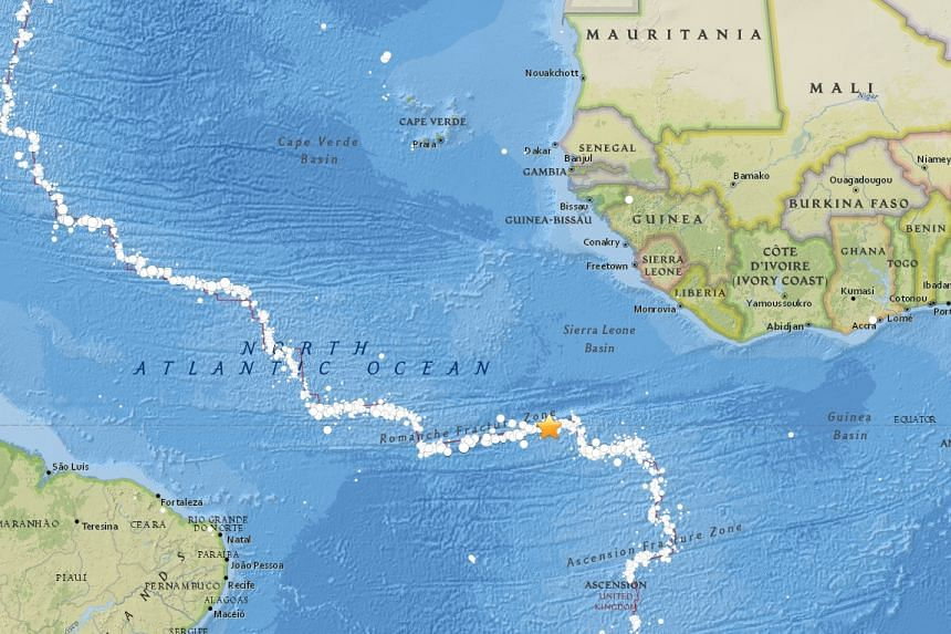 A quake struck in the Atlantic Ocean on Monday (Aug 29), north-west of Ascension island.