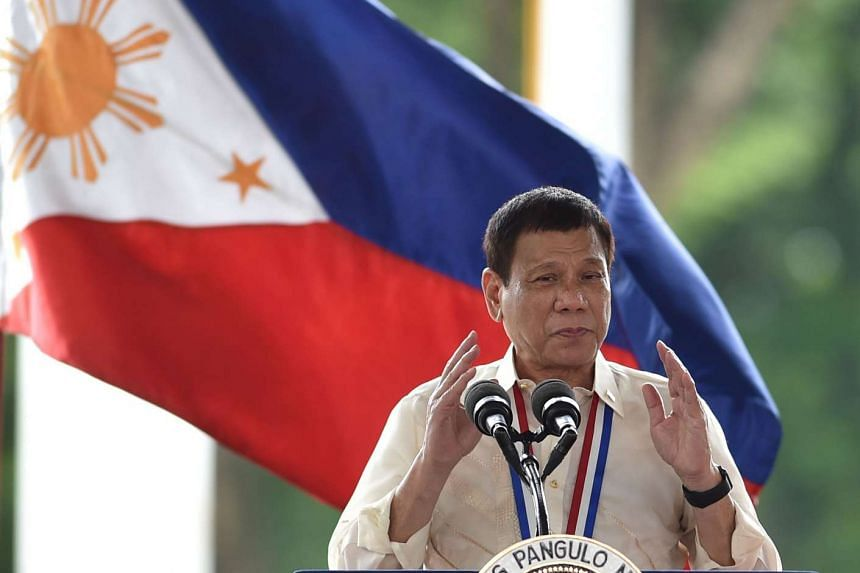 Philippine President Rodrigo Duterte delivers an address at the National Heroes' Cemetery as part of commemorations for National Heroes' Day in Manila on Aug 29, 2016.