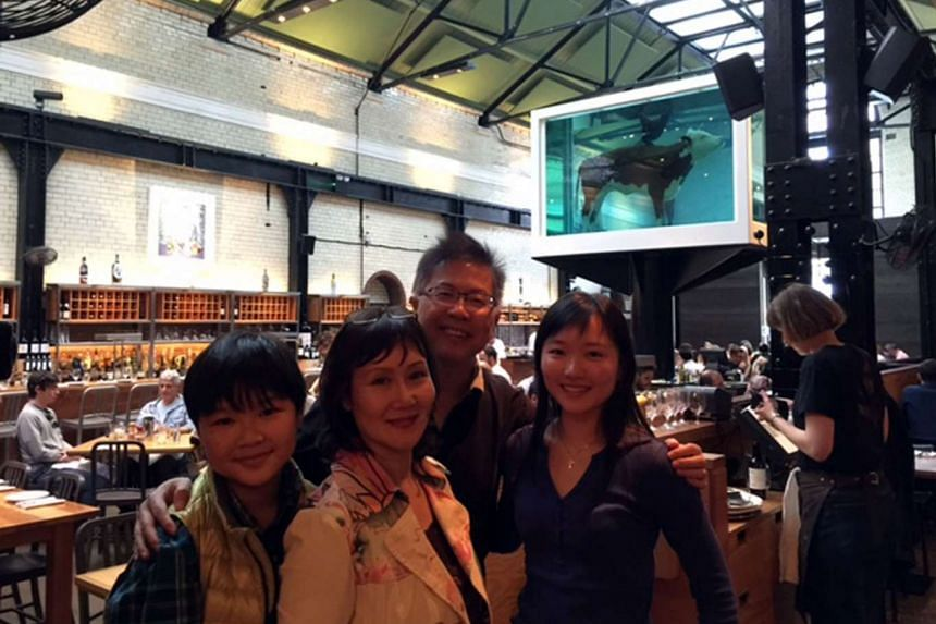 Mr Hua with his son Sean, wife Mona and daughter Natalie. The 53-year-old writes to the Forum page mainly about issues relating to the local art ecosystem and regional geopolitics.