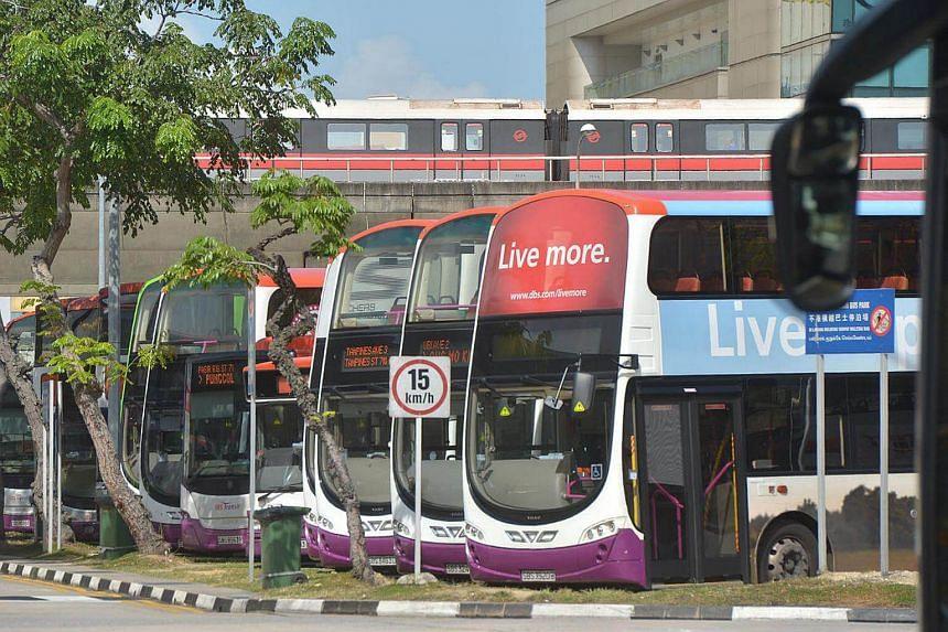 Buses parked at Tampines Bus Interchange.