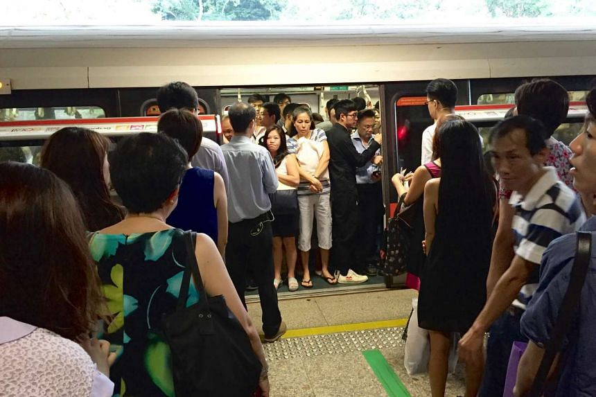 Long queues were also seen at 8.15am on a southbound train at Ang Mo Kio station on the North-South Line, which was hit by a track fault on Tuesday morning (August 30).