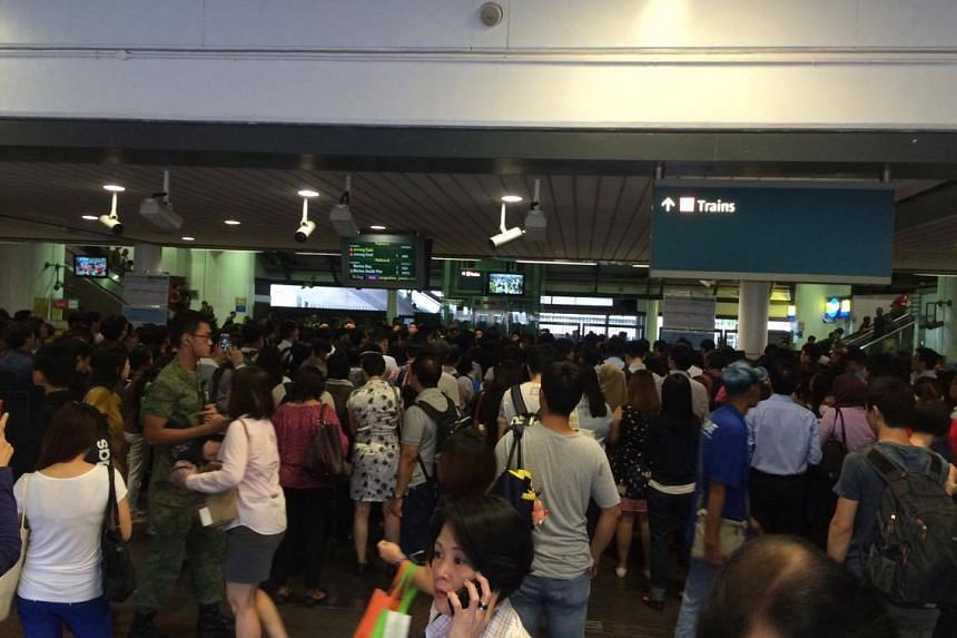 Crowds seen at Yew Tee MRT station on Tuesday (August 30), one of the affected stations due to a track fault.