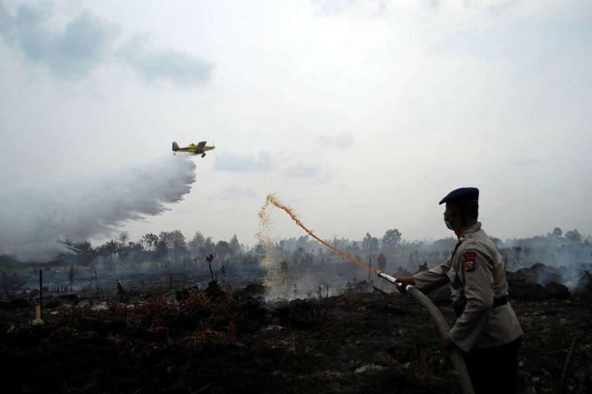 A water bomber dropping its payload as a police officer tries to extinguish a peat fire in Kampar, Riau province, on Aug 29, 2016.
