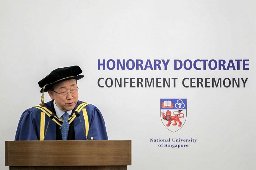 Secretary General of the United Nations (UN) Ban Ki Moon speaks after accepting an honorary degree of Doctor of Letters from the National University of Singapore on Aug 30, 2016.