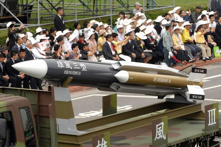 This picture taken on October 10, 2007 shows a model of a home-grown supersonic Hsiung-feng III ship-to-ship missile in Taipei.