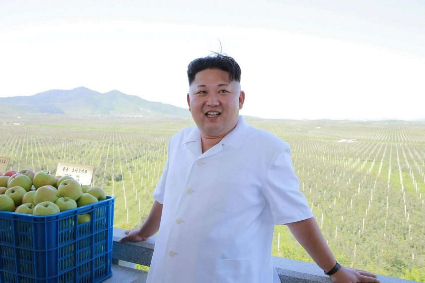North Korean leader Kim Jong Un visits the Taedonggang Combined Fruit Farm in Pyongyang on August 18.