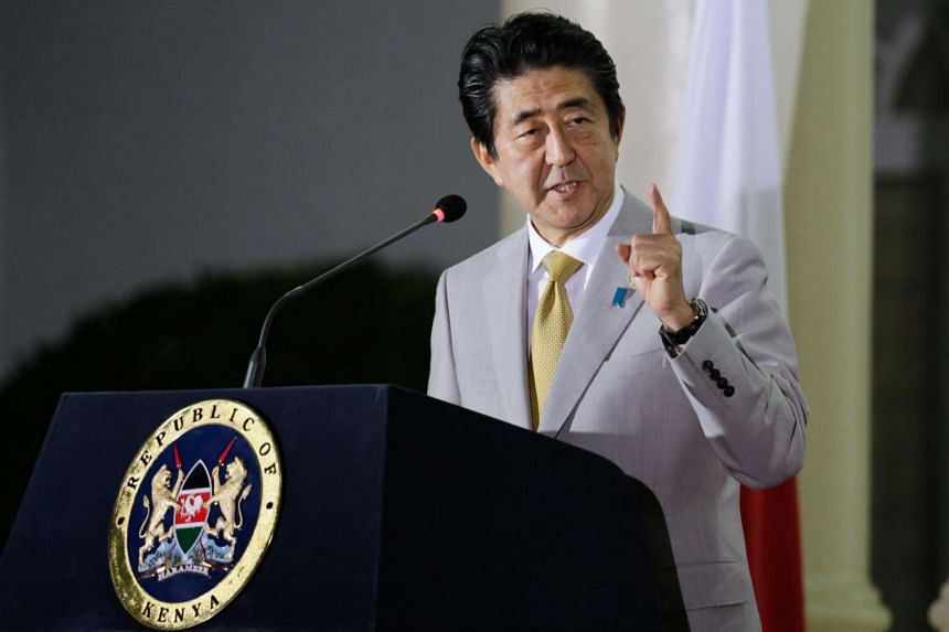Japanese Prime Minister Shinzo Abe speaks during a joint news conference with Kenyan President Uhuru Kenyatta (not pictured) at the State House in Nairobi, Kenya, on Aug 28.