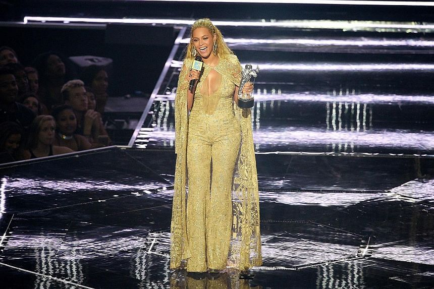 Beyonce accepting the Best Female Video award at the 2016 MTV Video Music Awards on Sunday. She brought the house down with a song-and-dance routine, earning a long standing ovation.