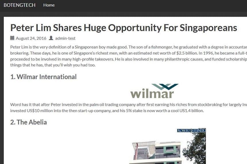 A screengrab from a get-rich-quick website (left) claiming to be linked to businessman Peter Lim. One of the sites (right) masqueraded as a page on The Straits Times website. In a statement to The Straits Times, Mr Lim said he was concerned that the