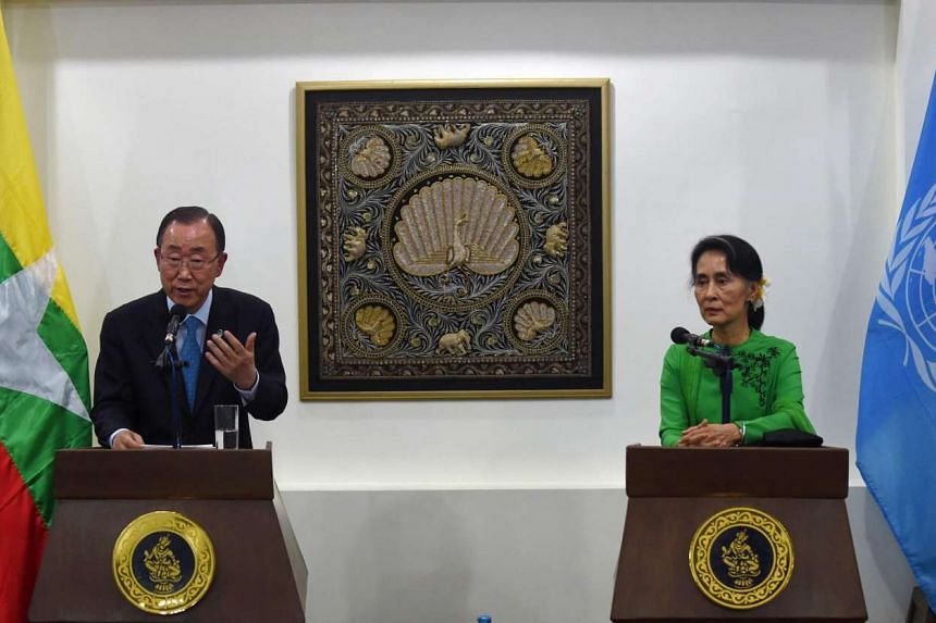 UN Secretary General Ban Ki Moon (left) and Myanmar State Counsellor and Foreign Minister Aung San Suu Kyi deliver a joint press conference following their meeting in Naypyidaw on Aug 30, 2016