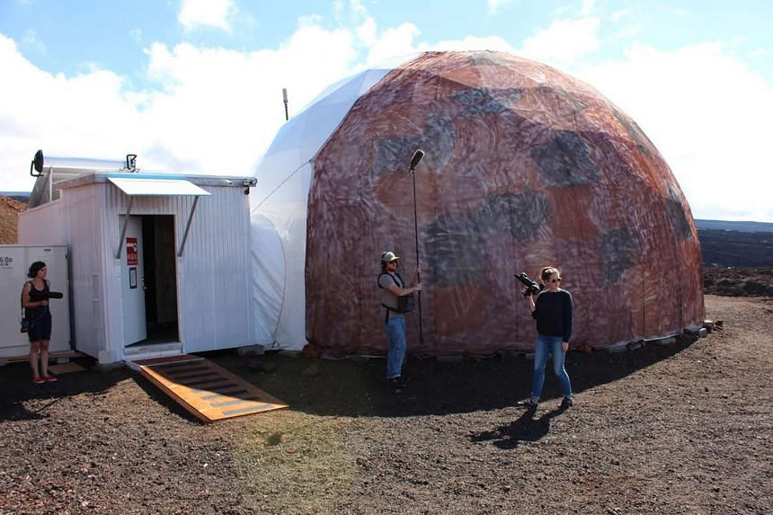 Above: Nasa's mock Mars crew lived in a geodesic dome set in an environment similar to that of the Red Planet at approximately 8,200 feet above sea level in Hawaii.
