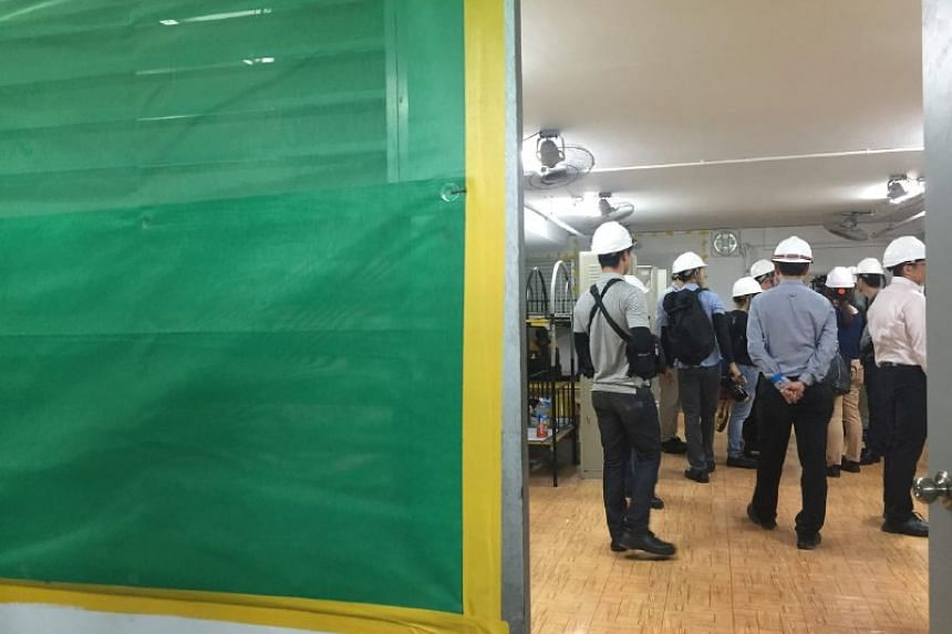 Netting installed on the dormitory's windows.
