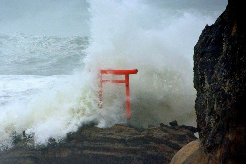 High waves triggered by Typhoon Lionrock crash against a torii gate on a coast of the city of Iwaki, Fukushima Prefecture, Japan on Aug 30, 2016.