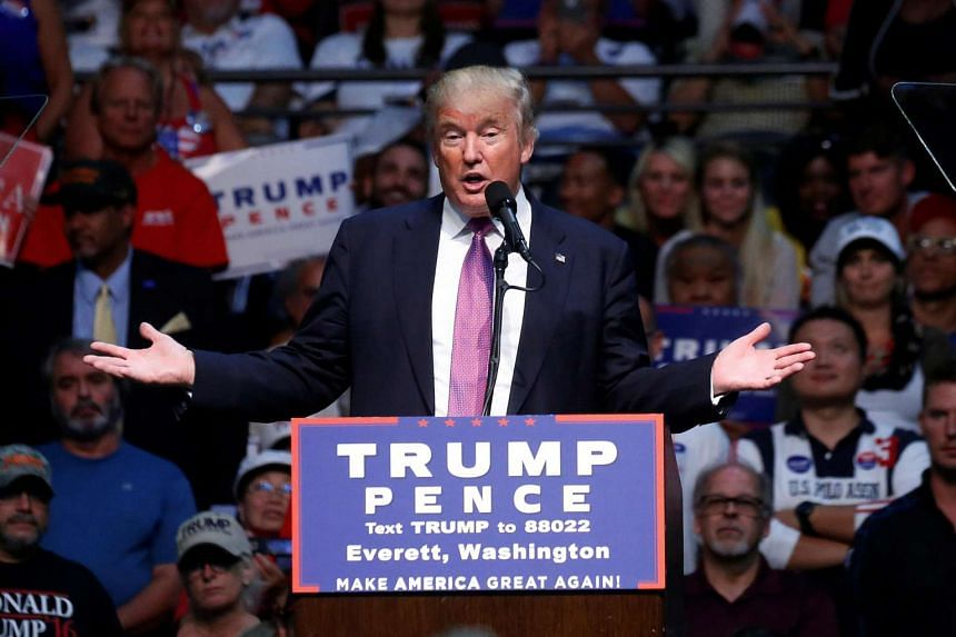 Republican presidential nominee Donald Trump speaks during a campaign rally in Everett, Washington, US on Aug 30, 2016.