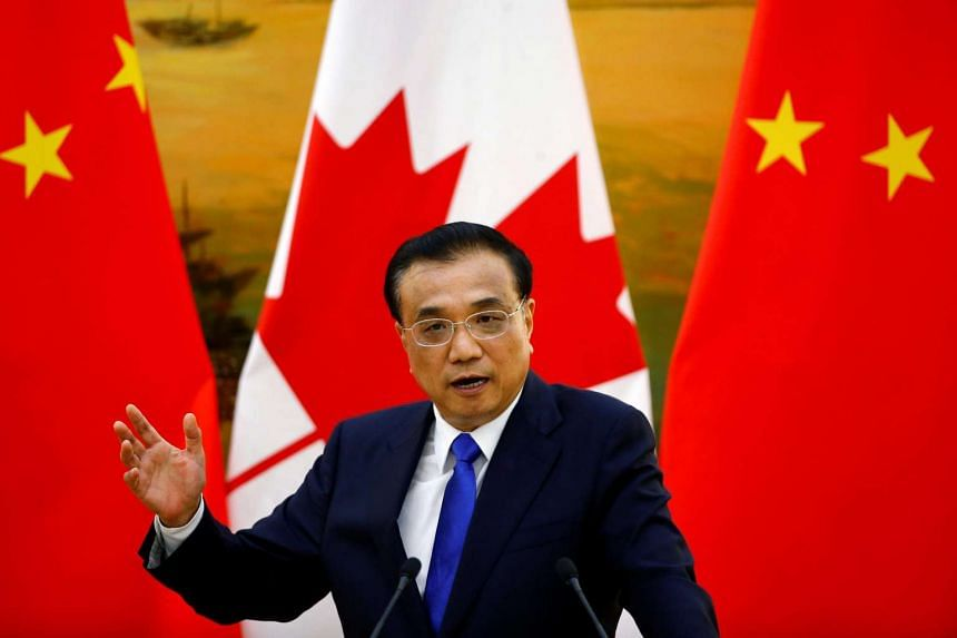 Chinese Premier Li Keqiang attends a joint news conference with Canadian Prime Minister Justin Trudeau (not pictured) at the Great Hall of the People in Beijing, China on Aug 31, 2016.