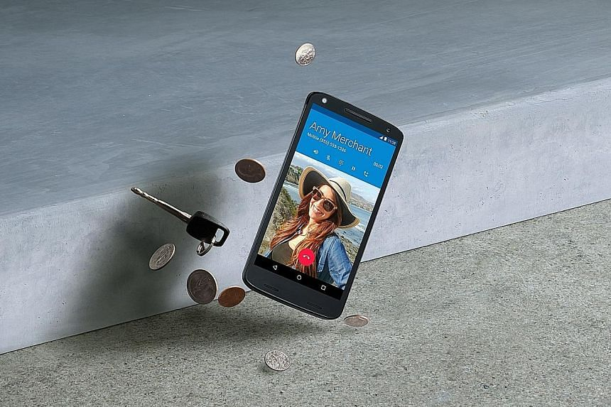 The Moto X Force (left), which has a shatterproof screen, and the Moto 360 Sport smartwatch (above) are among Motorola's new models being released in Singapore.