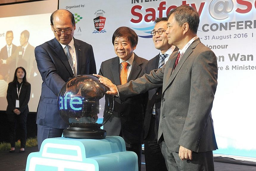 From left: IMO secretary- general Kitack Lim, Mr Khaw, Mr Tan and National Maritime Safety at Sea Council chairman Richard Lim at the inaugural conference.