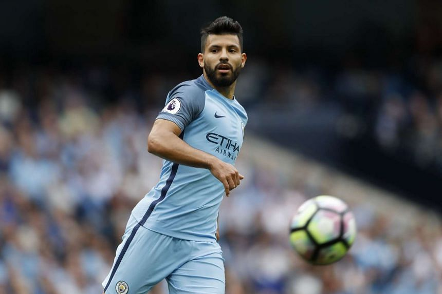 Manchester City's Sergio Aguero in action on Aug 28, 2016.