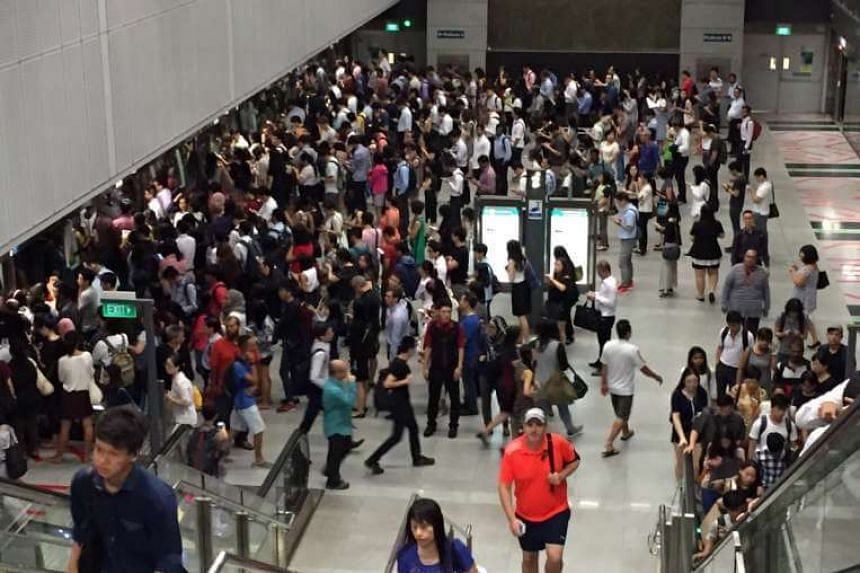 The crowd at Botanic Gardens MRT station on Tuesday morning.