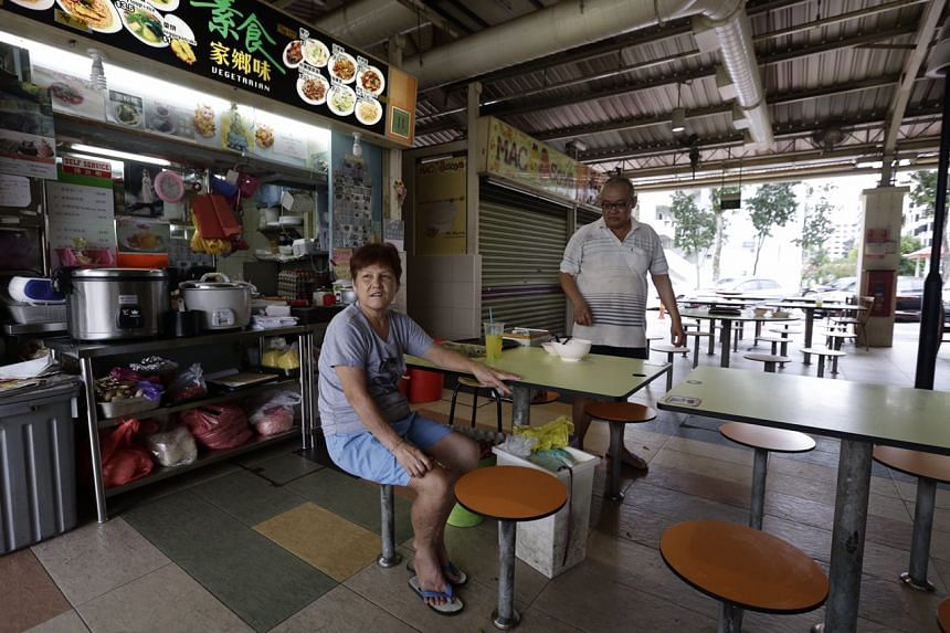 Madam Poh Poh Gek in front of her vegetarian stall at Circuit Road Food Centre, on Aug 31, 2016.