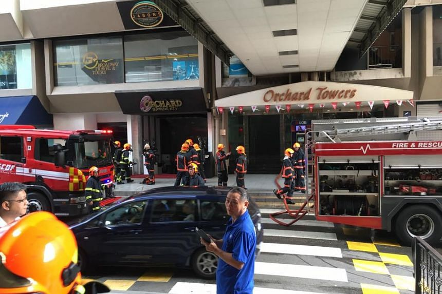 Fire engines parked outside Orchard Towers on Aug 31, 2016.