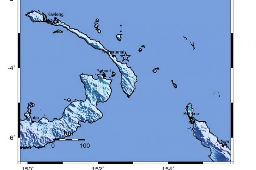A shakemap of the earthquake in Paupa New Guinea.