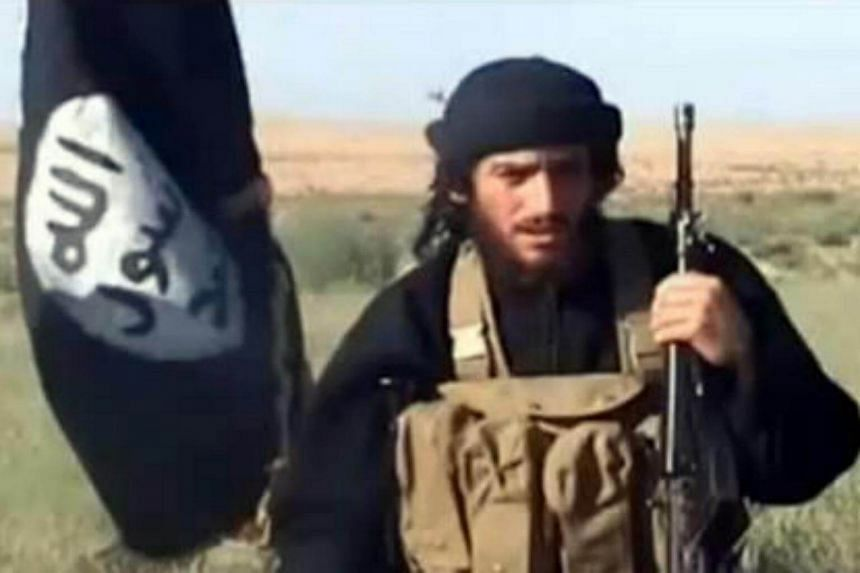 This file image shows an image grab taken on Oct 2, 2013 from a video uploaded on YouTube on July 8, 2012, of the spokesman for ISIS, Abu Mohammad al-Adnani al-Shami, speaking next to an Islamist flag.