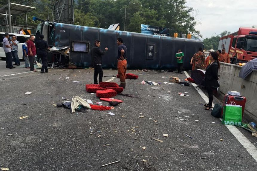 Nine of the 12 passengers on board the bus were injured in the accident, on Aug 31, 2016.