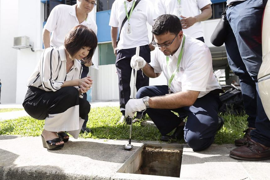 Dr Amy Khor watching NEA officers treating the drains at Paya Lebar Way on Aug 31, 2016.