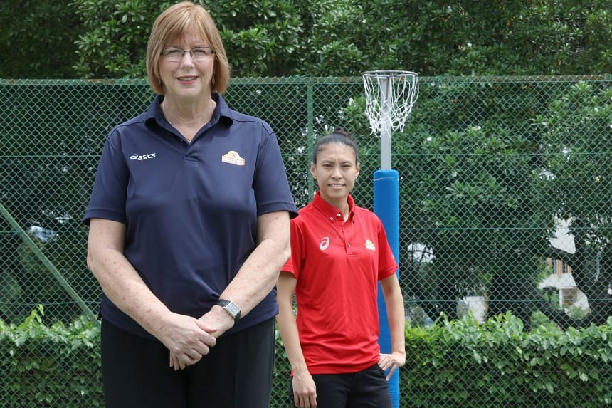 Singapore netball coach Ruth Aitken (left) will be counting on team captain Vanessa Lee to lead the charge at the Sept 4-10 Nations Cup.