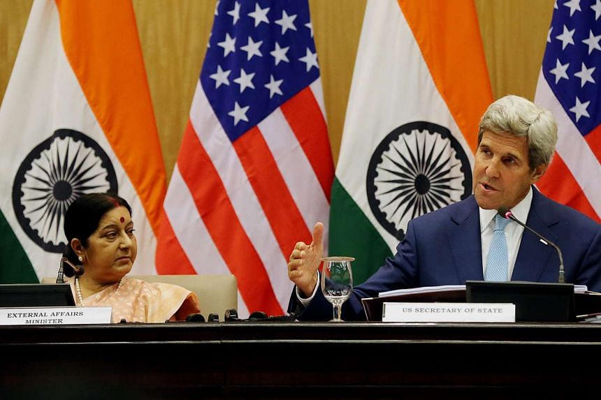 Indian External Affairs Minister Sushma Swaraj (left) and US Secretary of State John Kerry during a joint press conference in New Delhi, India on Aug 30, 2016.
