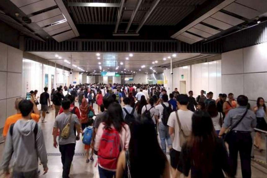 Commuters travelling along Circle Line on Aug 29, 2016.
