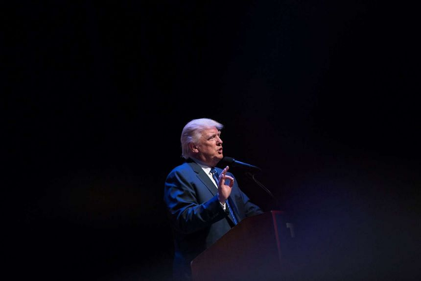 Republican US presidential nominee Donald Trump attends a campaign event at the Merrill Auditorium in Portland, Maine Aug 4.