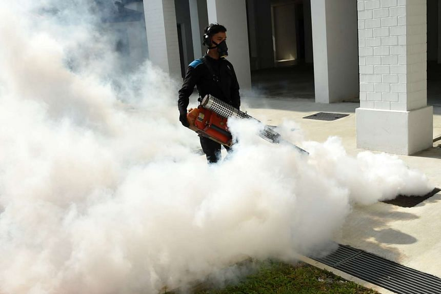 A pest control staff fumigates the drainage at Macpherson neighbourhood housing estate in Singapore on Aug 31.