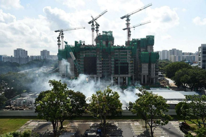 Fumigation is conducted at a construction site near Aljunied on Aug 31, 2016.