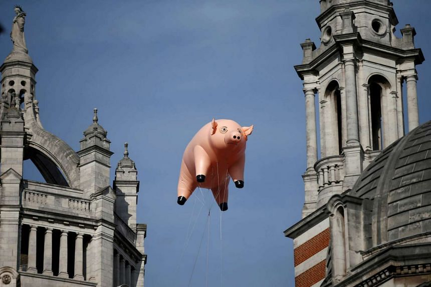 An inflatable pig from the band Pink Floyd floats over the Victoria and Albert Museum to promote The Pink Floyd Exhibition: Their Mortal Remains.