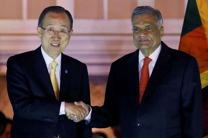 Sri Lanka's Prime Minister Ranil Wickremesinghe (right) shakes hands with UN Secretary-General Ban Ki Moon at their meeting in Colombo on Aug 31, 2016.