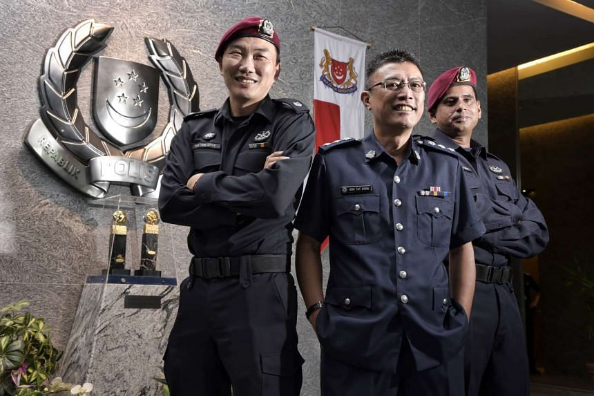 (From left) assistant Superintendent Tan Hoe Chye, 43, Superintendent Goh Tat Boon, 48, and SSI Mohammed Noh, 40.