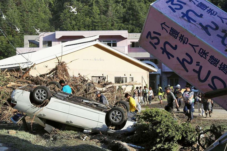 A home for the elderly damaged by a flood triggered by Typhoon Lionrock, where local media say nine bodies were found, in Iwaizumi town, Iwate prefecture, Japan on Aug 31, 2016.