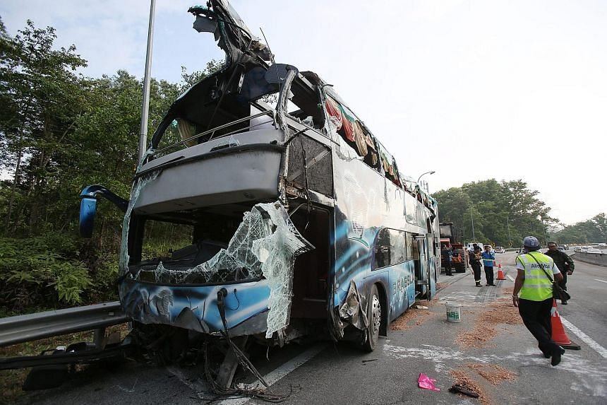 The bus overturned at about 3.45pm yesterday, obstructing the highway linking Karak to Kuala Lumpur and causing a traffic jam. It was righted and moved to the side of the road by about 6.30pm.