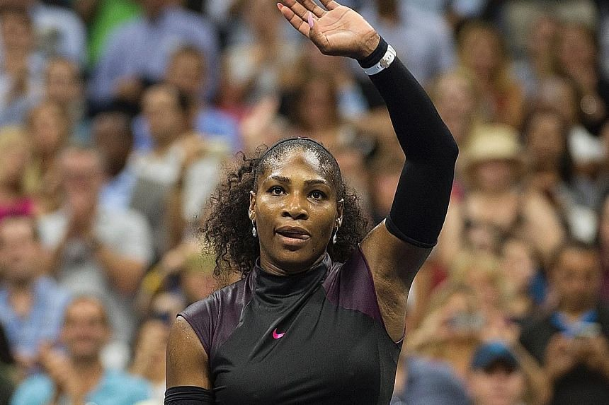 World No. 1 and top seed Serena Williams celebrating her 6-3, 6-3 victory over Ekaterina Makarova of Russia on Tuesday. Williams refused to answer questions about whether her world ranking is coming under increased threat.